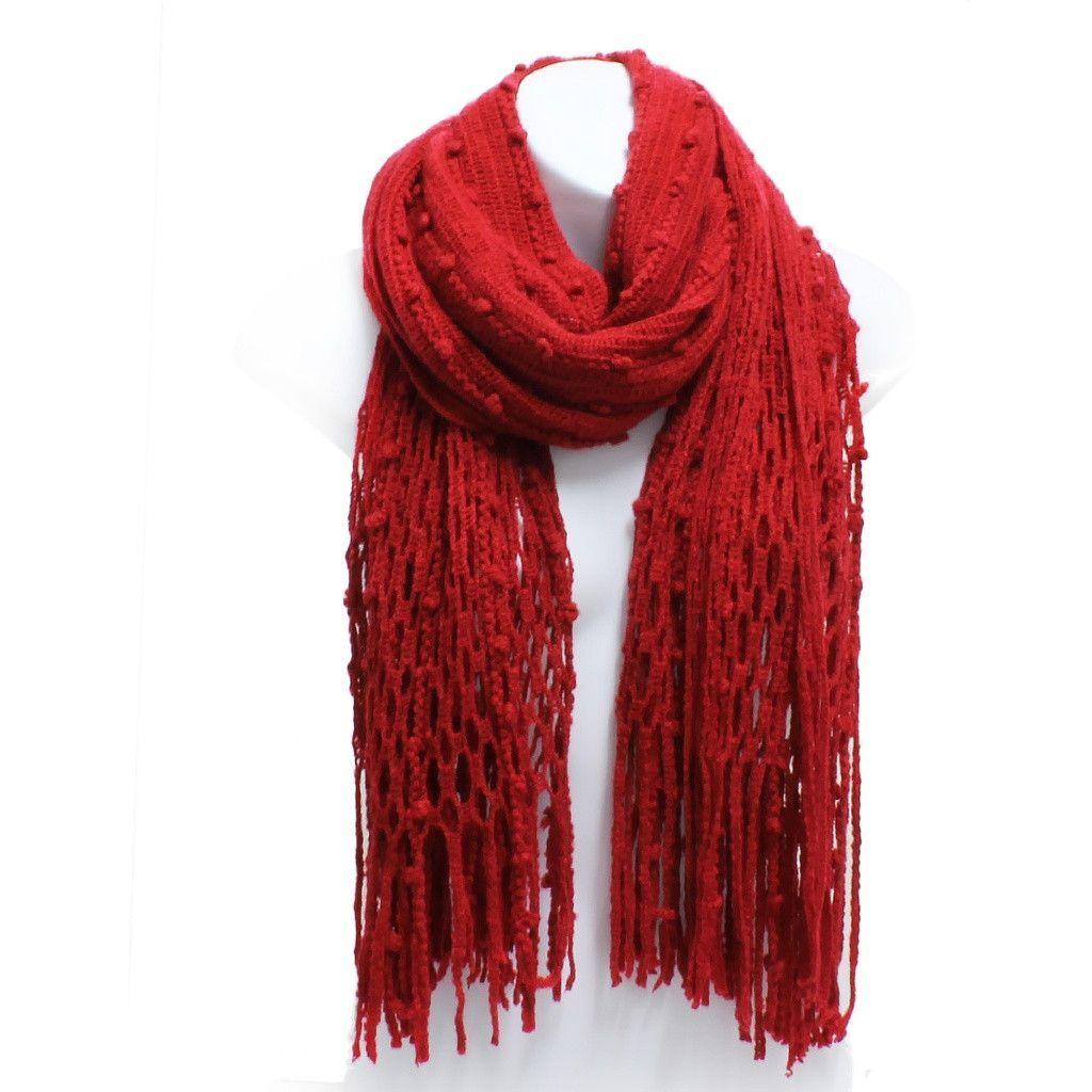 Winter Knit Fish Net Weave Oblong Scarf with Fringe | Products