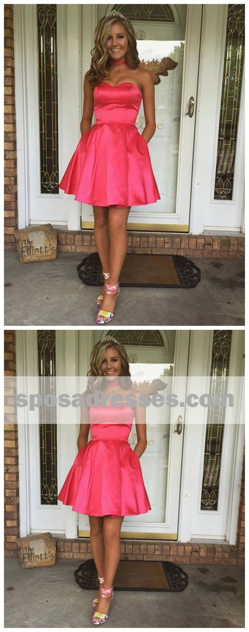 Sweetheart simple cute cheap short red homecoming dresses under