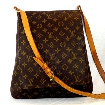 578a9c545ce3 Musette Salsa Gm Long Strap Brown Monogram Canvas Leather Cross Body ...