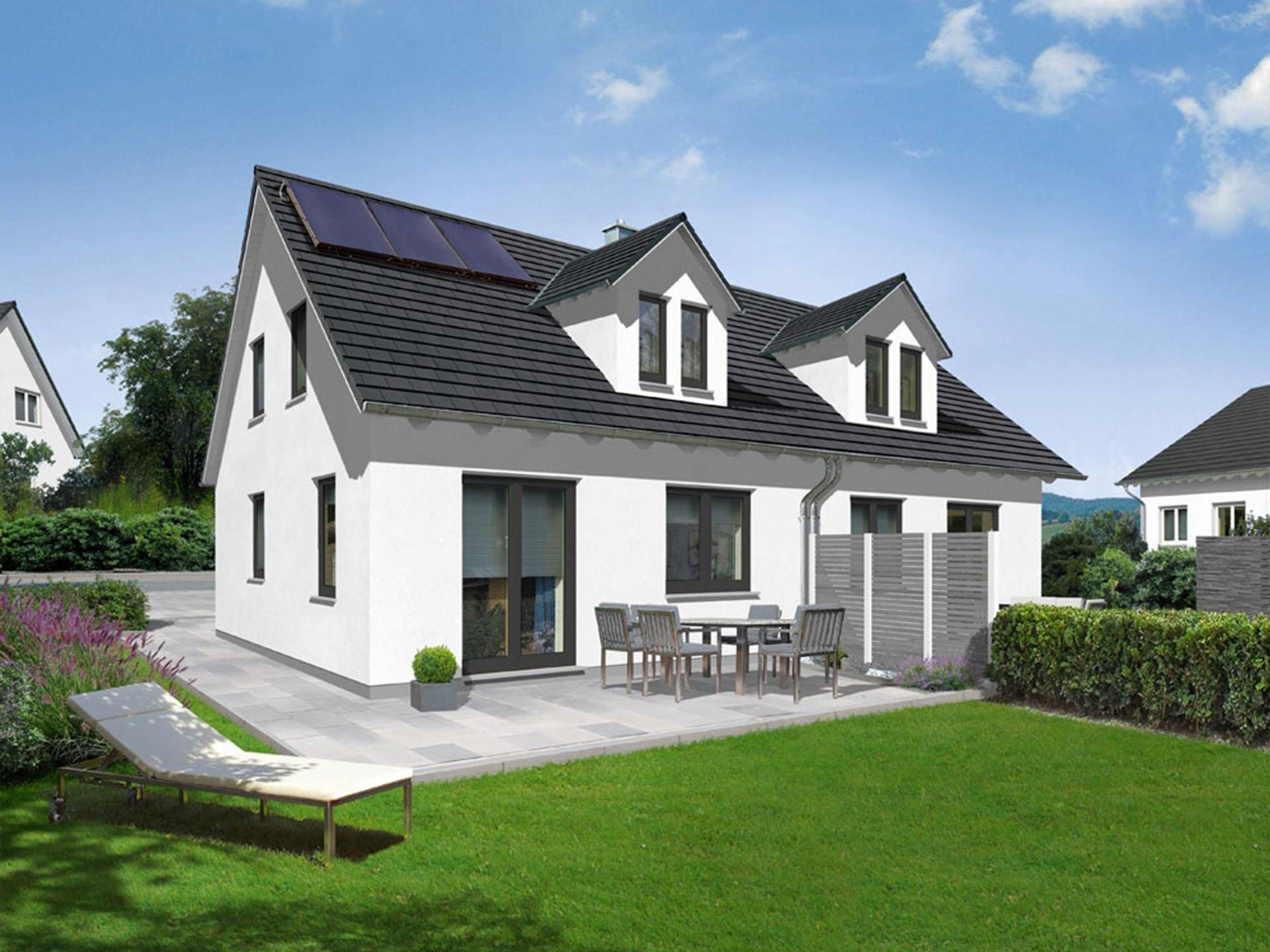 doppelhaus duett 115 bausatzhaus von prohaus h bsches energiesparhaus mit satteldach und 115. Black Bedroom Furniture Sets. Home Design Ideas