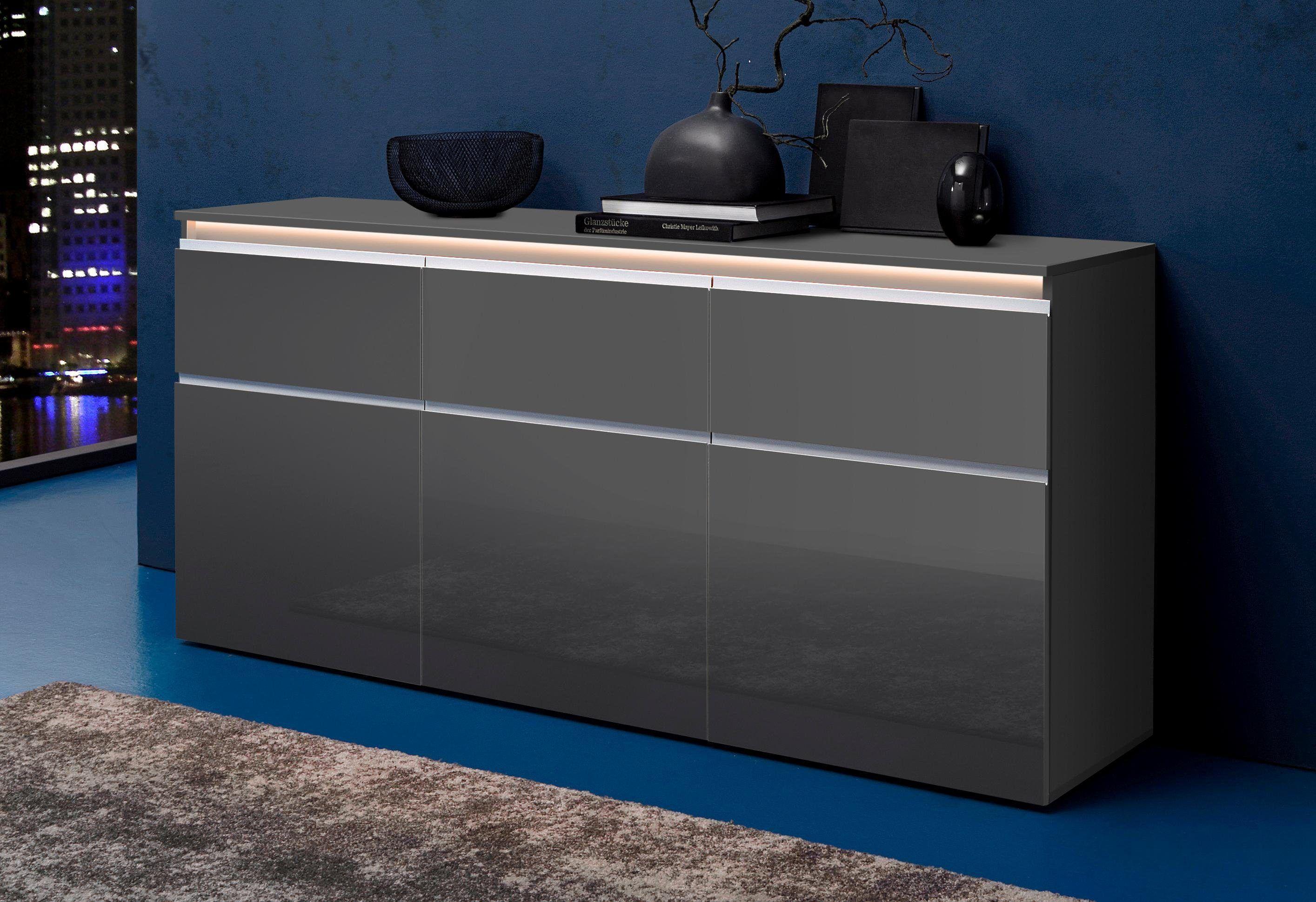Sideboard Wohnzimmer ~ Tecnos sideboard grau mit schubkästen fsc zertifiziert jetzt