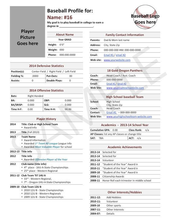Baseball, Player Profile Template, Used for College
