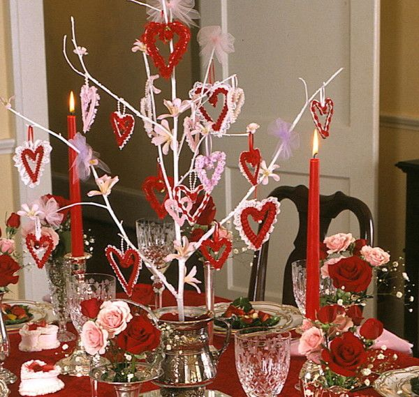 Valentines day table decorations d coration de table st for B day decoration ideas