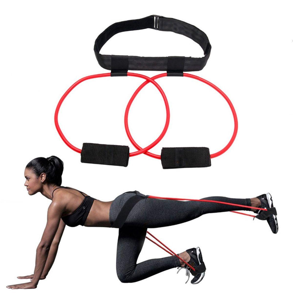 Resistance Band Rope Hip Elastic Fitness Belt Yoga Gym Training Exercise