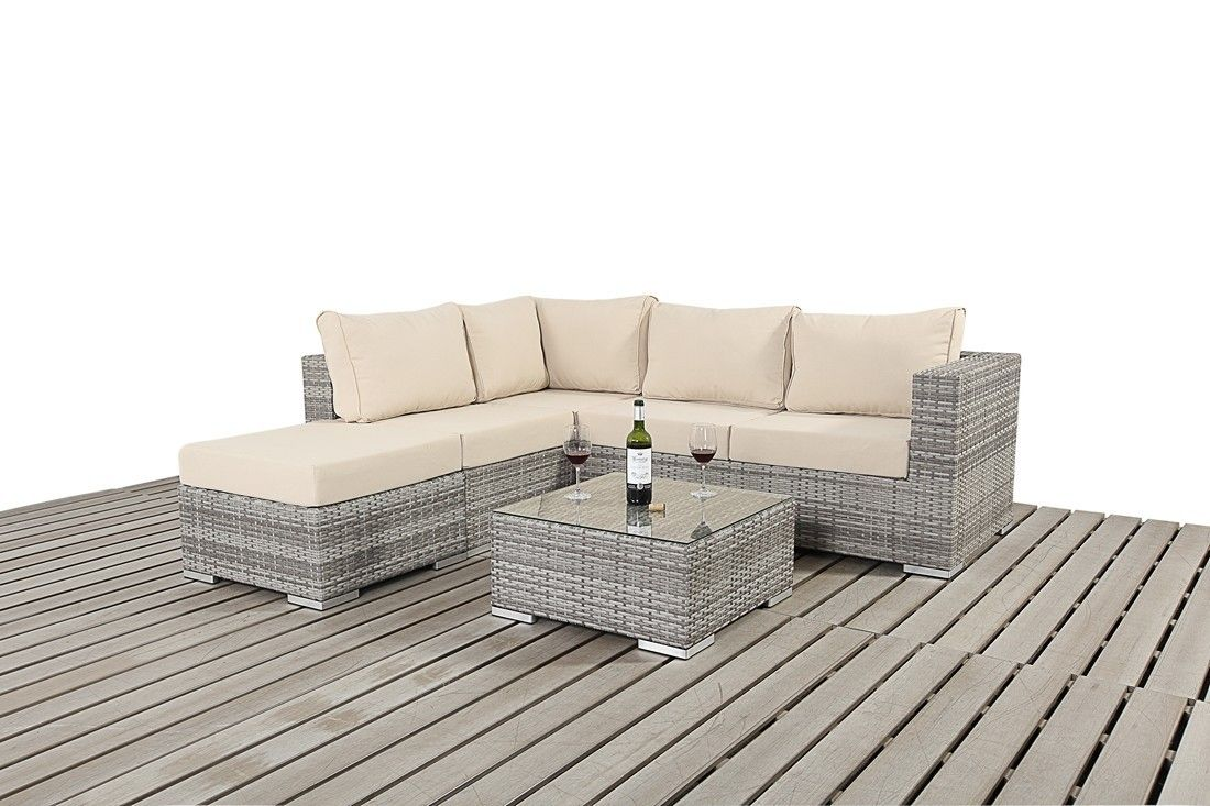 Bonsoni Rustic Small Corner Sofa Consists Of Two Modular Two Seater Sofas And A Footstool Rattan Garden Small Corner Sofa Rattan Garden Furniture Corner Sofa