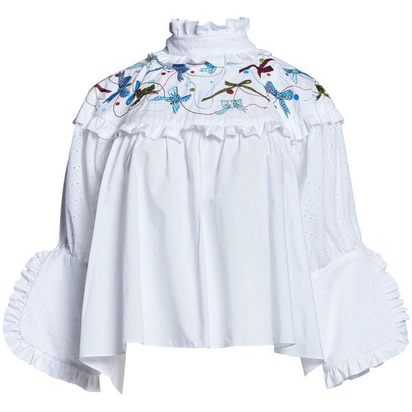 0106c5a96210 Romance Was Born Shepherdess Embroidery Blouse ($390) ❤ liked on Polyvore  featuring tops, blouses, white, white embroidered top, embroidery blouses,  ...