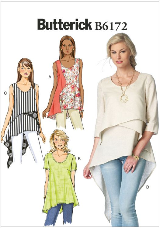 Misses Top and Tunic Butterick Sewing Pattern No. 6172 | Sewing ...