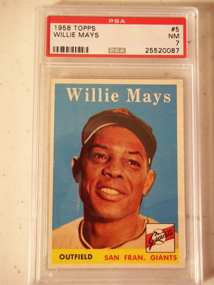 1958 Topps Willie Mays Psa Graded Nm 7 Baseball Card 5 Mlb