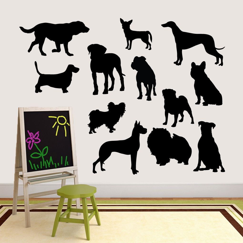 Large Dog Silhouette Set Vinyl Wall Decal By Sweetums Dog - Sporting dog decals