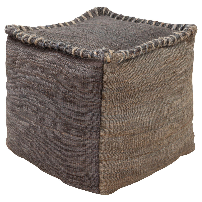 Surya Charcoal Pouf Zinc Door Zincdoor Rustic Seating Pouf Toile De Jute Decoration West Elm