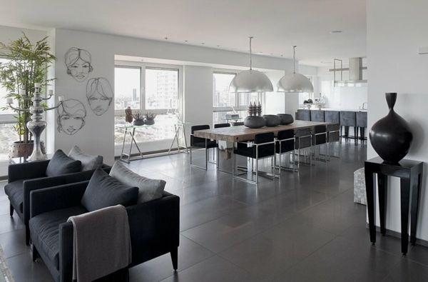 Modern Grau Apartment Junge Familie Wohzimmer Sofas