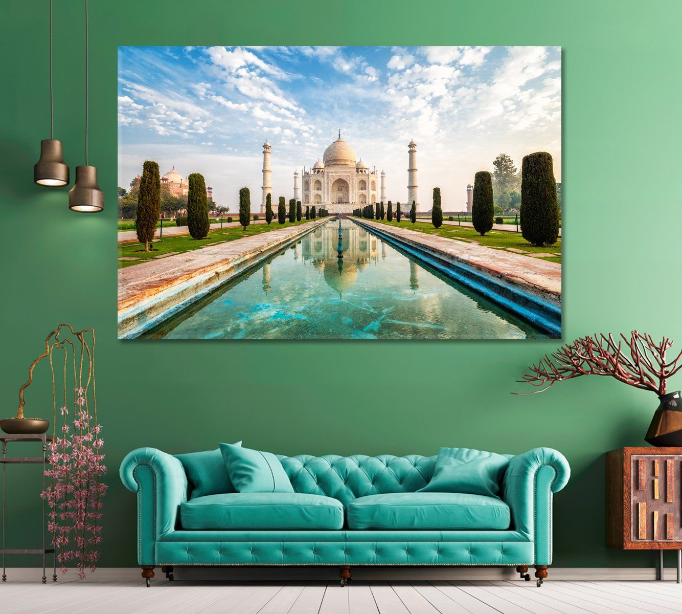 Large Wall Art Taj Mahal Agra India 5 Panels 71 X48 In 2020 Large Wall Art Large Canvas Prints Agra