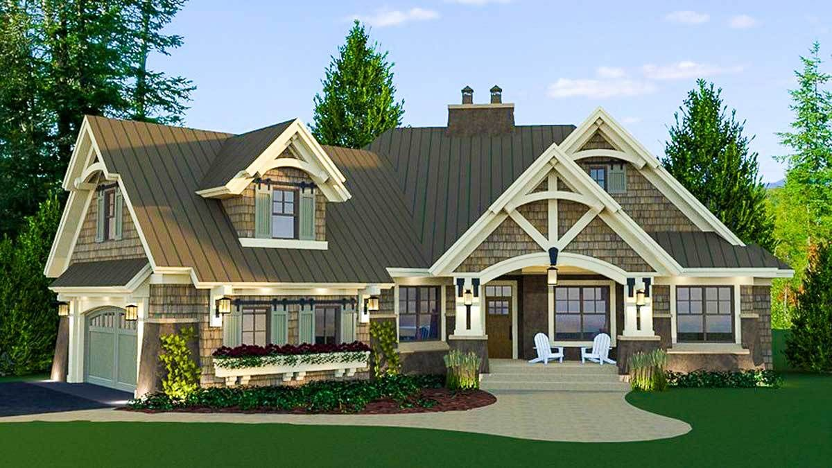 Plan 14635rk Craftsman House Plan With Magnificent Curb Appeal Craftsman House Plans Craftsman House Craftsman Style House Plans
