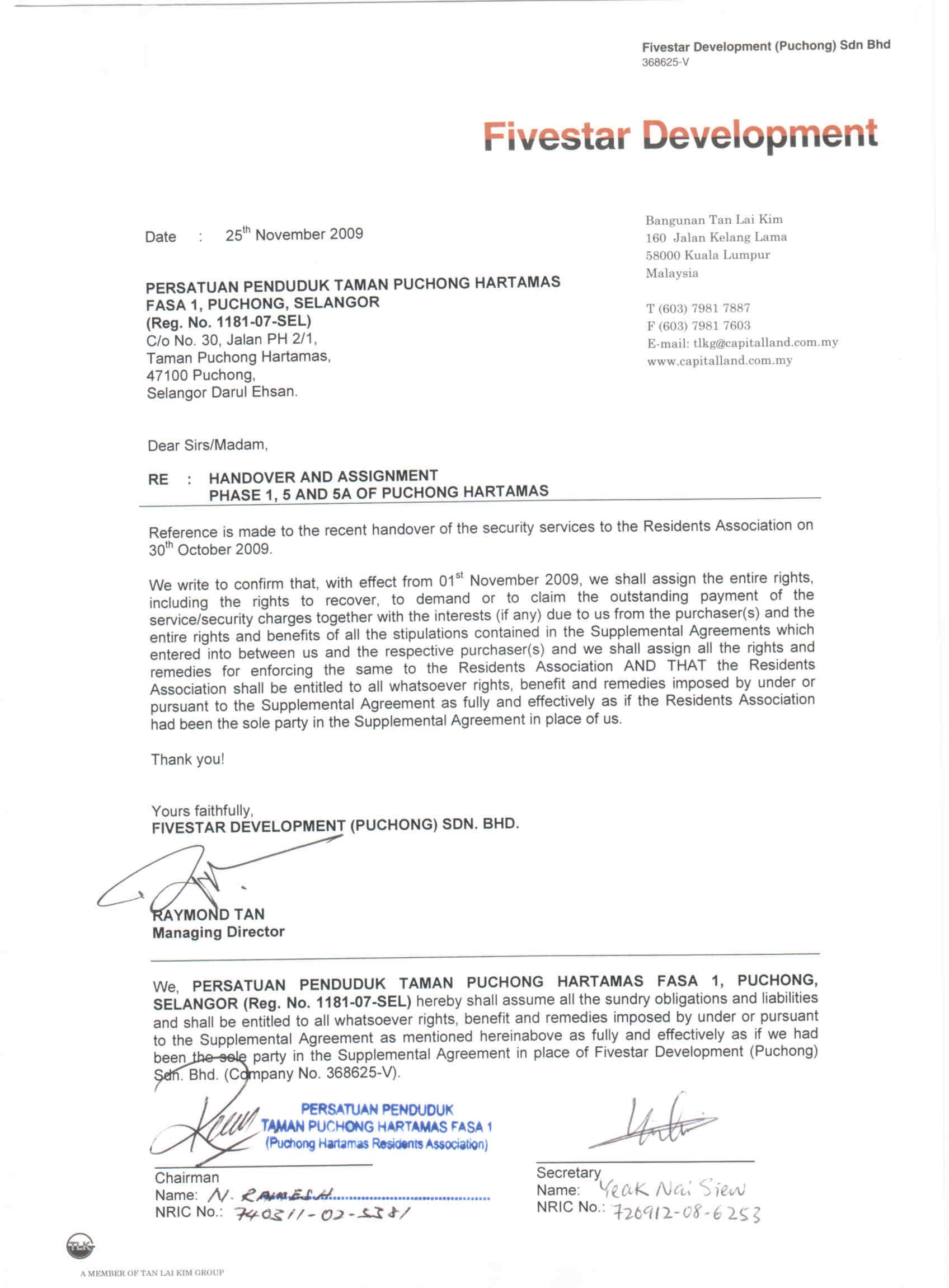 the official handover and assignment letter for securityformal letter template business l