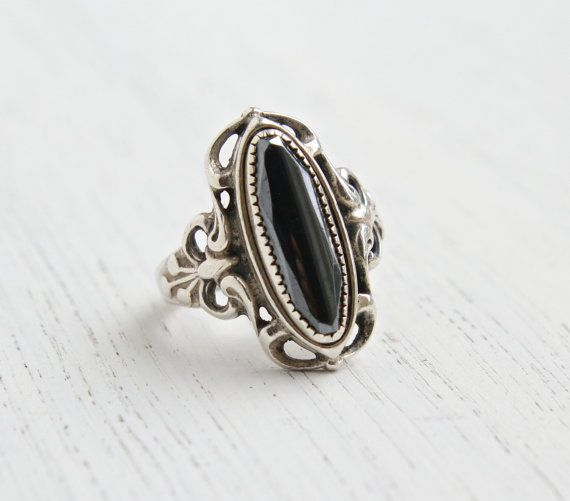 403aecd1835 Vintage Sterling Silver Hematite Ring - Signed WM Wheeler Mfg. Co Size 6  1 4 Filigree Jewelry   Gray Marquise Statement by Maejean Vintage on Etsy
