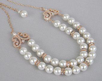 Rose Gold Bridal Necklace, Wedding Necklace, Pearl Wedding jewelry, Swarovski, Silver Bridal Jewelry, Dakota Bridal Necklace
