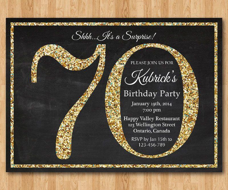 70th Birthday Invitation Gold Glitter Birthday Party By