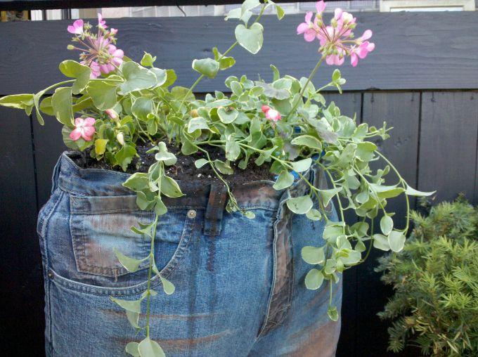 pantalones vaqueros maceta de flores