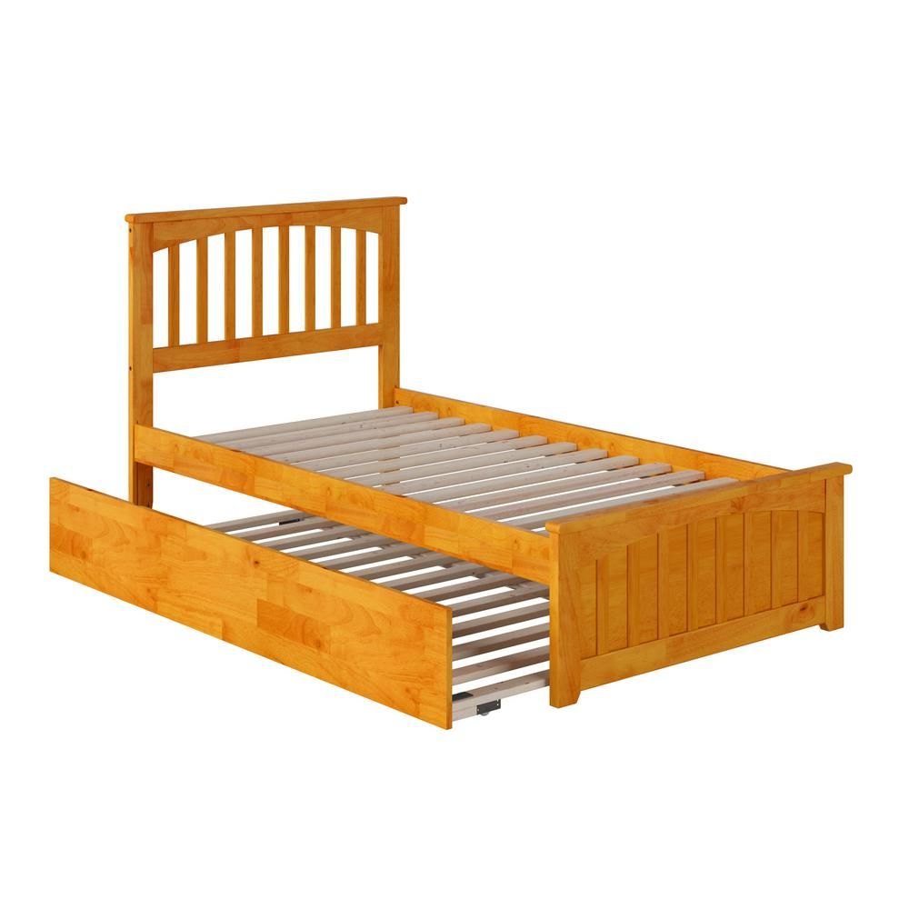 Atlantic Furniture Mission Caramel Twin Platform Bed With Matching