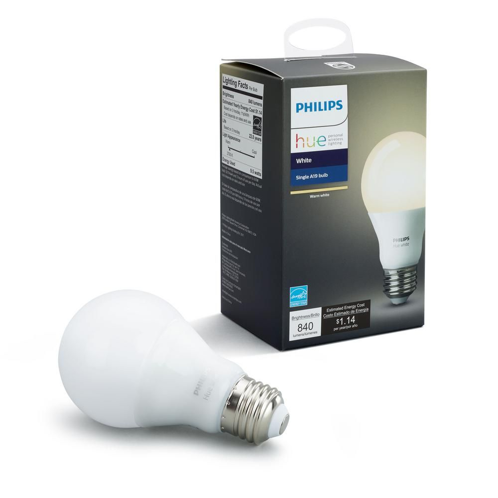 Philips Hue White A19 Led 60w Equivalent Dimmable Smart Wireless Bulb 455295 The Home Depot In 2020 Hue Philips Smart Bulb Smart Light Bulbs