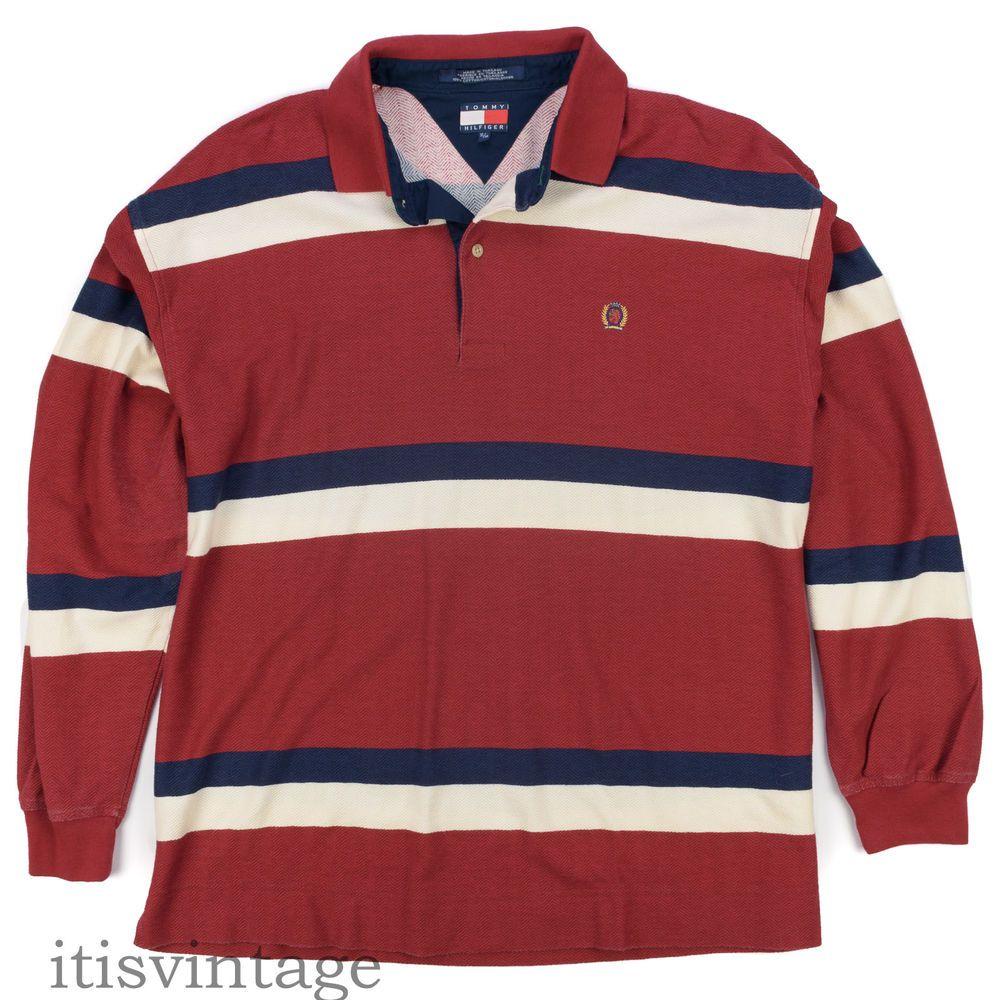 facf41e5 Tommy Hilfiger Polo Shirt XL Vintage Herringbone Weave Men's Striped Long  Sleeve #TommyHilfiger #Polo #itisvintage #tommy #hilfiger #90sfashion