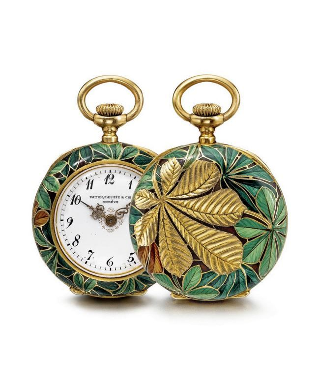 A LADY'S RARE 18K YELLOW GOLD AND CLOISONNÉ ENAMEL OPEN-FACED PENDANT WATCH 1896.
