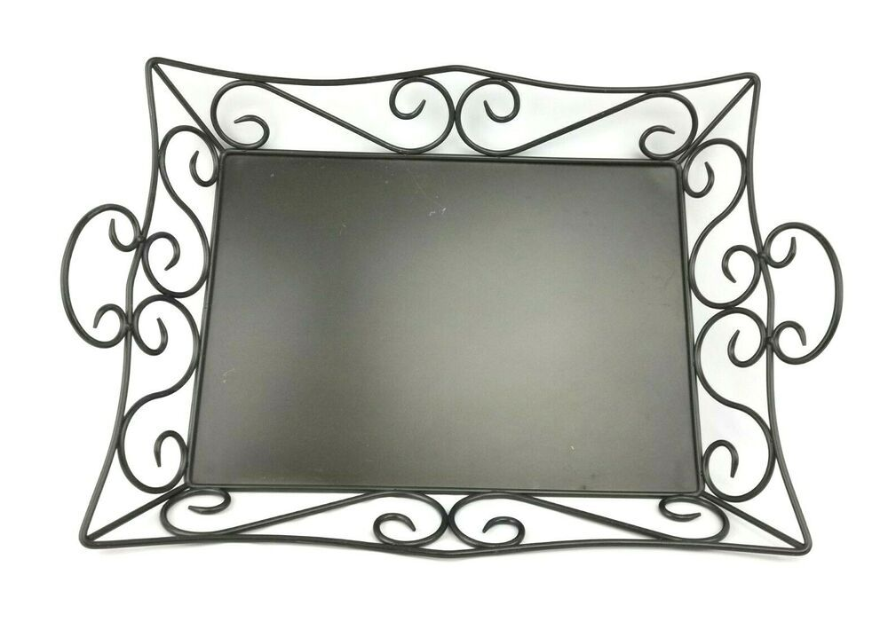 Partylite Serving Tray Wrought Iron Scroll Large Rectangular
