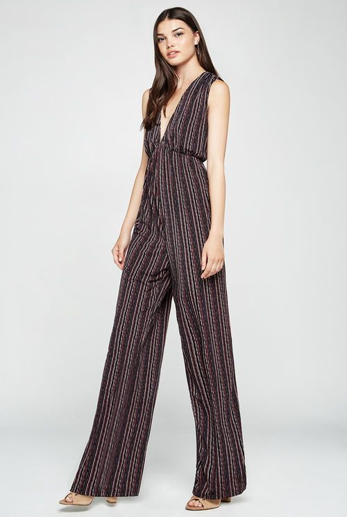 99107cdb208 BCBGeneration Birchy Stripes Deep-V Jumpsuit