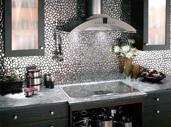 Kuchenruckwand Ideen Fliesenspiegel Flussteine Kitchen Pinterest