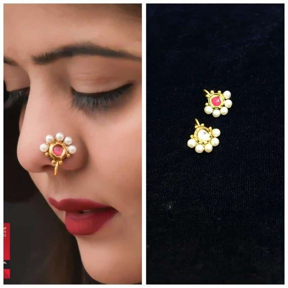 2 Pcs Combo Bollywood Gold Plated Non-Piercing Nose Pin Handmade Nose clip, Nose Pin, Nose Rings & S #nosering