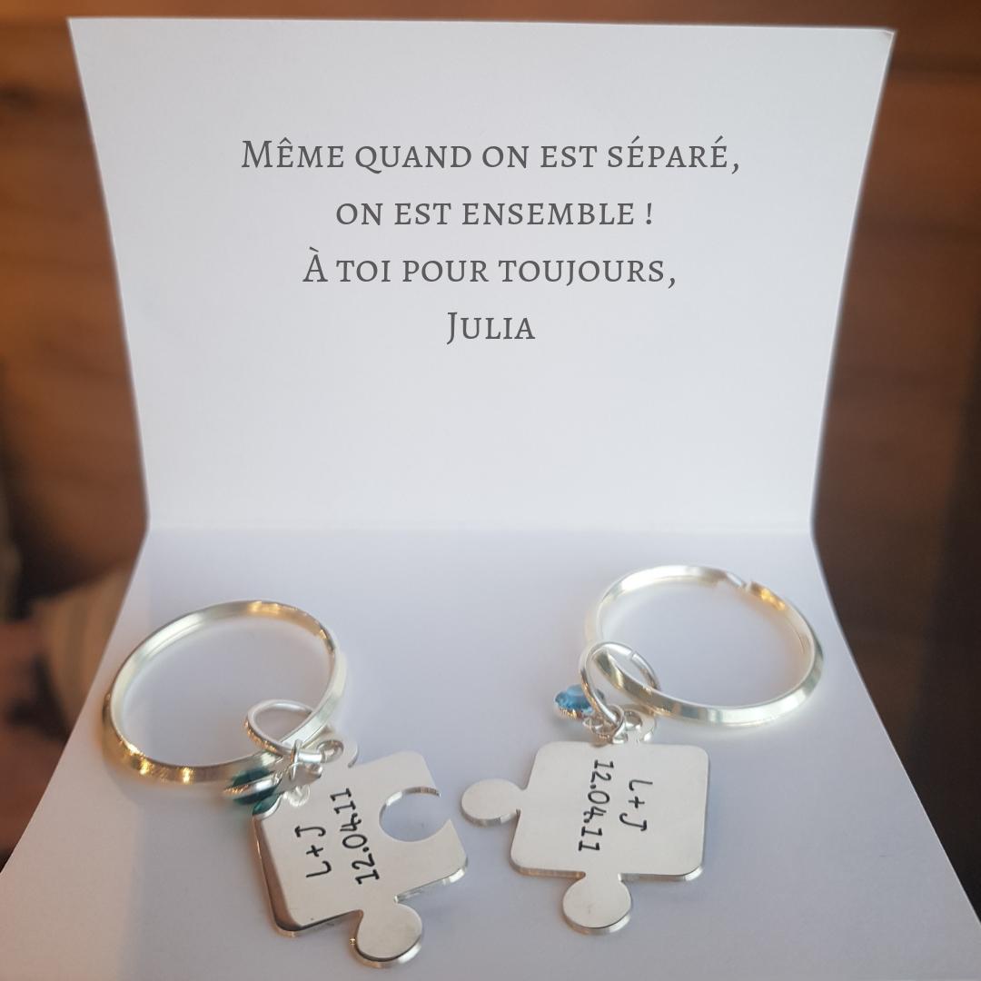 Idée Cadeau Pacs Porte clés Puzzle Couple avec Cristal | Idée cadeau couple, Cadeau