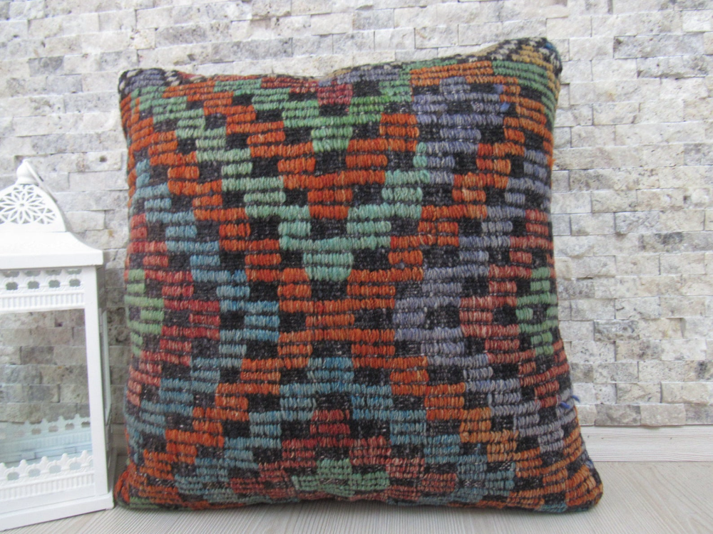 Organic Cotton kilim pillow 20x20 tribal rustic pillow kilim pillow cover boho pillow throw pillow turkish handmade pillow aztec pillow