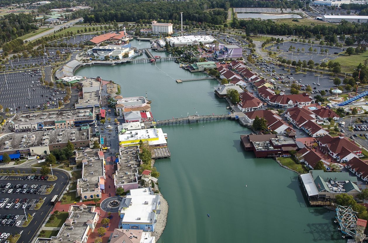 An Aerial View Of Broadway At The Beach In Myrtle Shows Some Restaurants S Attractions Theaters And Nightclubs Included