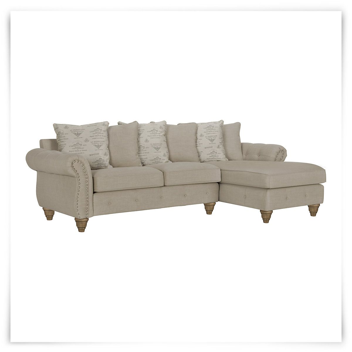 Hutton Lt Taupe Linen Right Chaise Sectional : The colors are blah, and could be easily stained...but its decent and can be dressed up