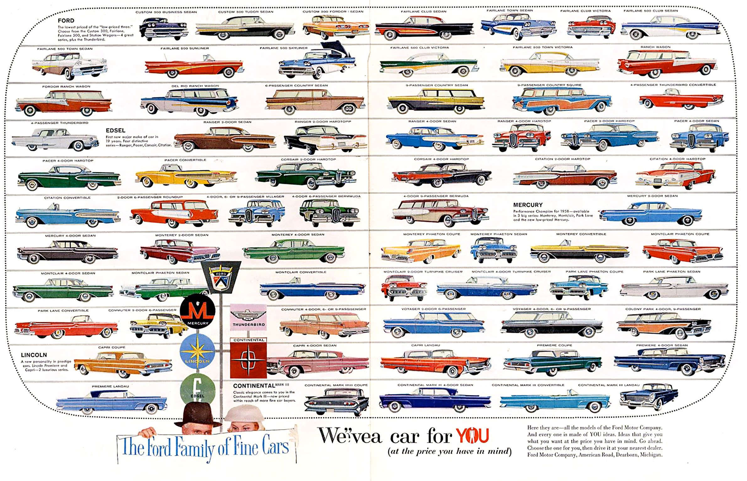 1958 Ford Family Of Cars Ford Car Ads Automotive Illustration