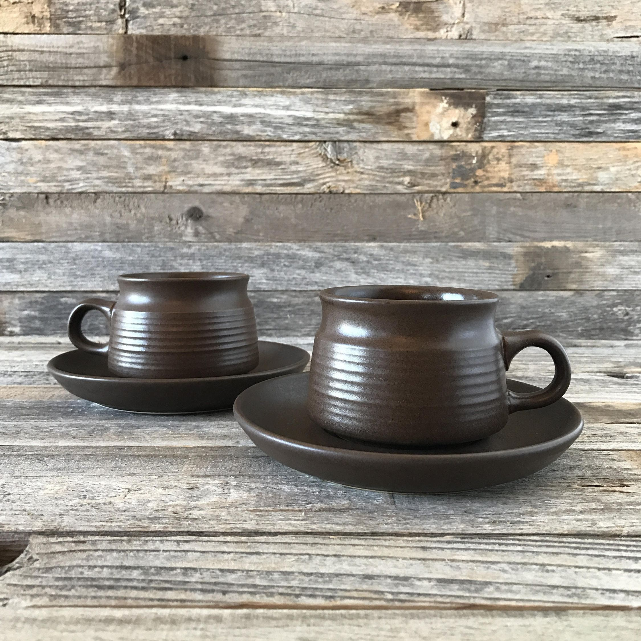Set of 2 vintage stoneware cups with matching saucers Mayflower by Denby. Dark brown inside and out with a simple shape and ribbed detail on the cup. & Set of 2 vintage stoneware cups with matching saucers Mayflower by ...