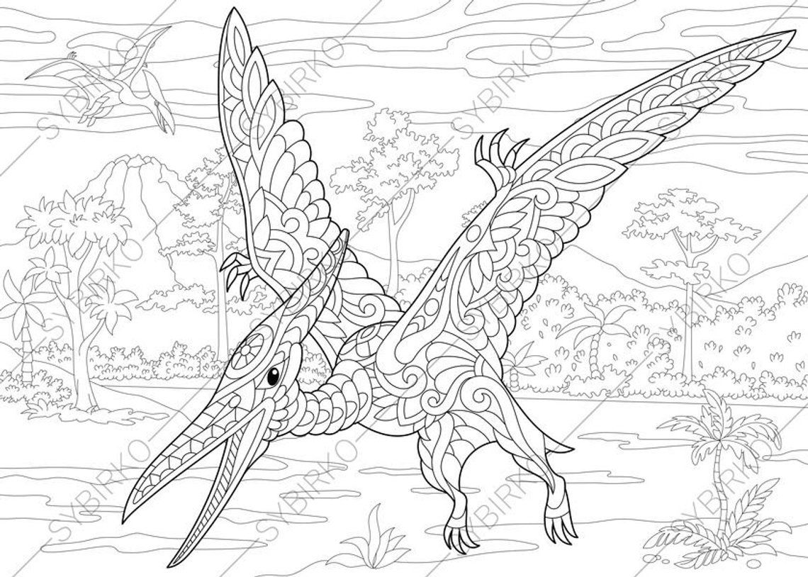 Pterodactyl Dinosaur Pterosaur Dino Coloring Pages Animal Coloring Book Pages For Adults Instant Download Print Dinosaur Coloring Pages Animal Coloring Pages Dinosaur Coloring