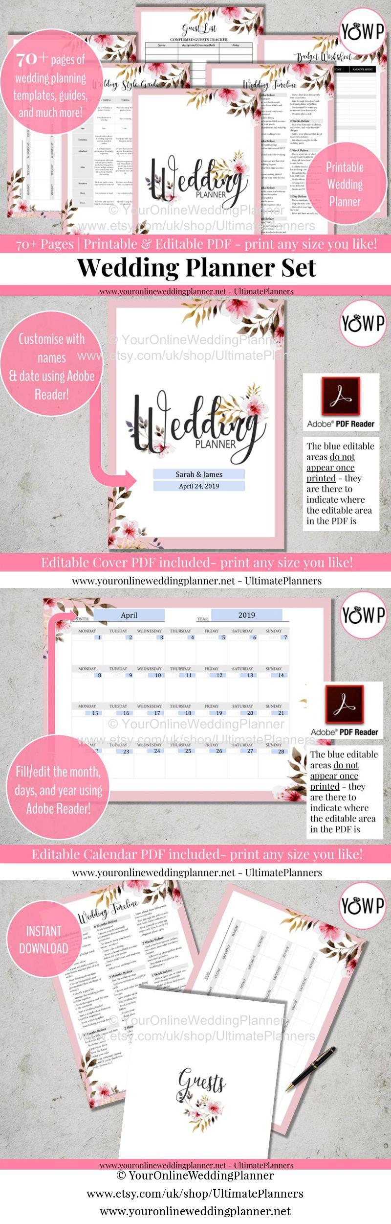 wedding planner printable editable wedding planner custom