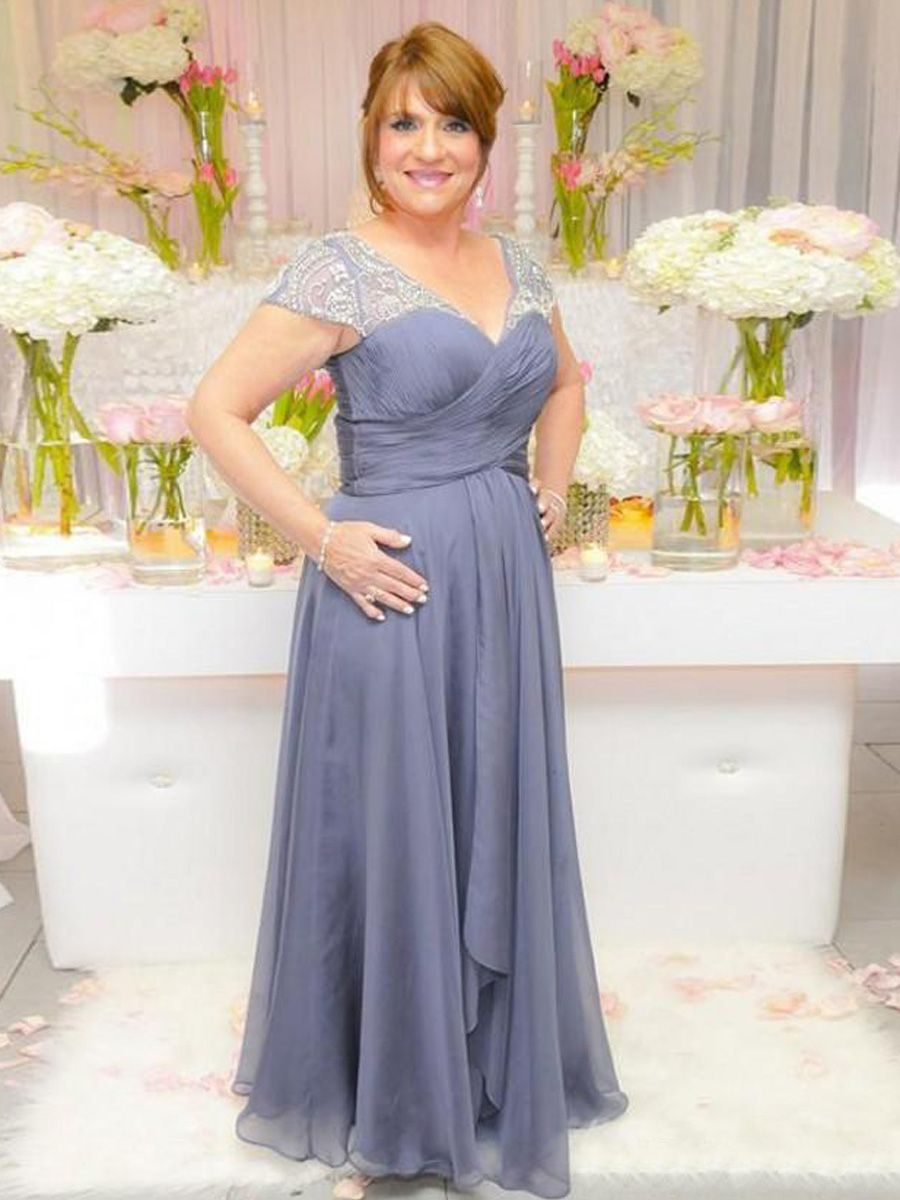 Mother dresses for sons wedding  Elegant Beaded VNeck Long Mother of The Bride Dresses Mother of The