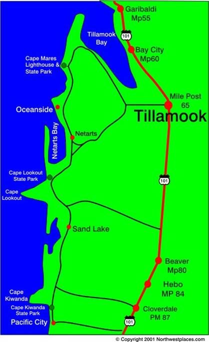 Map Of Three Capes Scenic Loop Tillamook To Pacific City Oregon