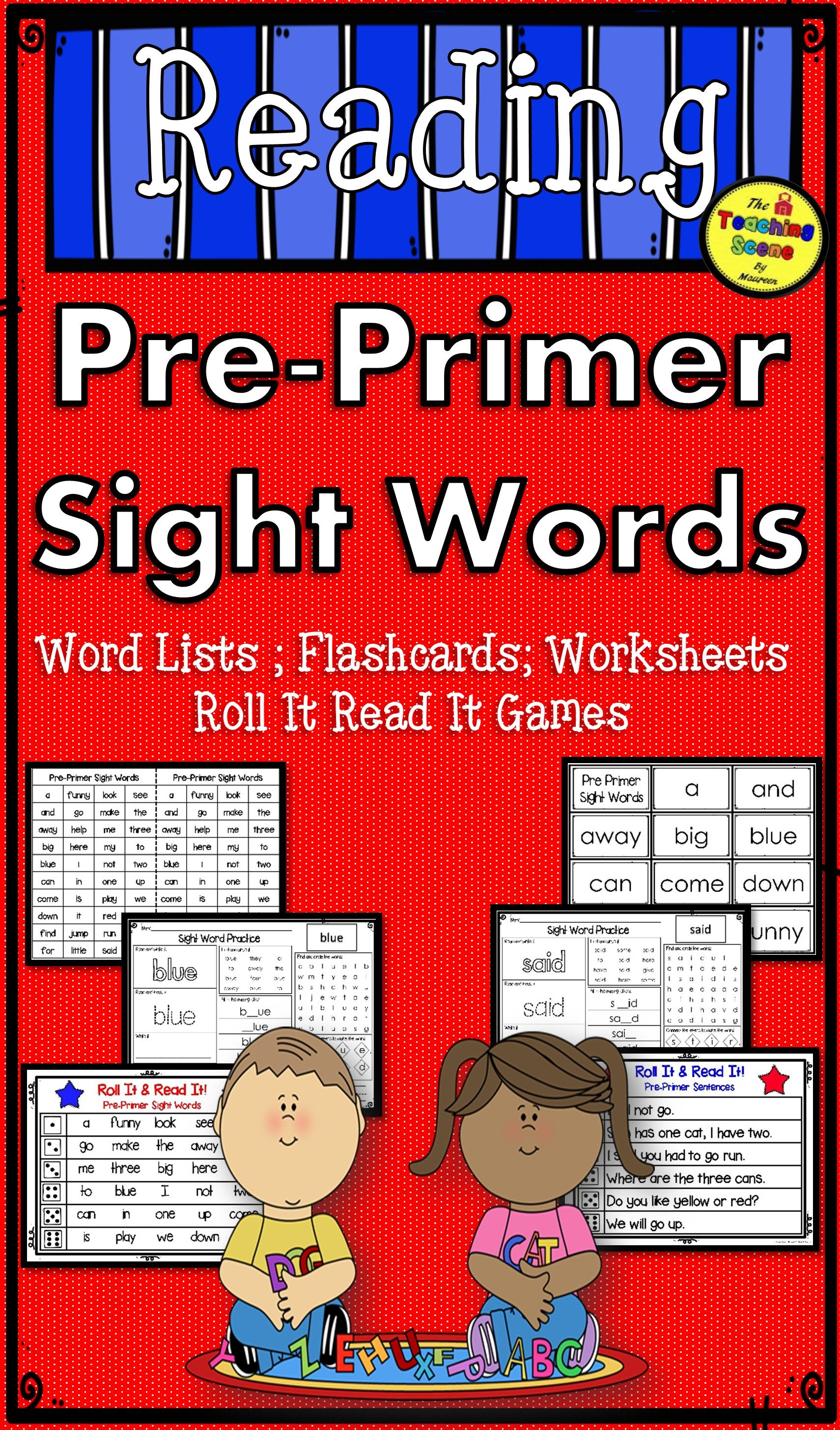 Pre Primer Sight Word Lists Flashcards Worksheets Amp Roll