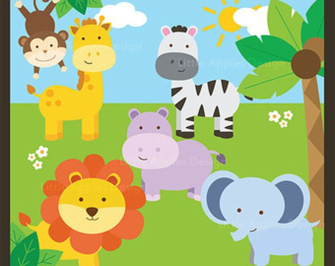 In The Wild Clipart Jungle Clipart Safari Clipart Jungle Etsy Jungle Clipart Baby Clip Art Clip Art