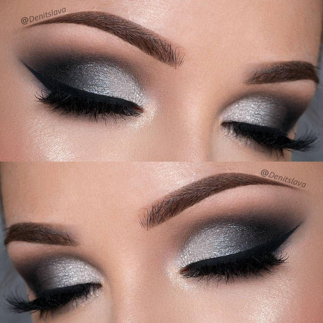 Silver and black smokey eye makeup