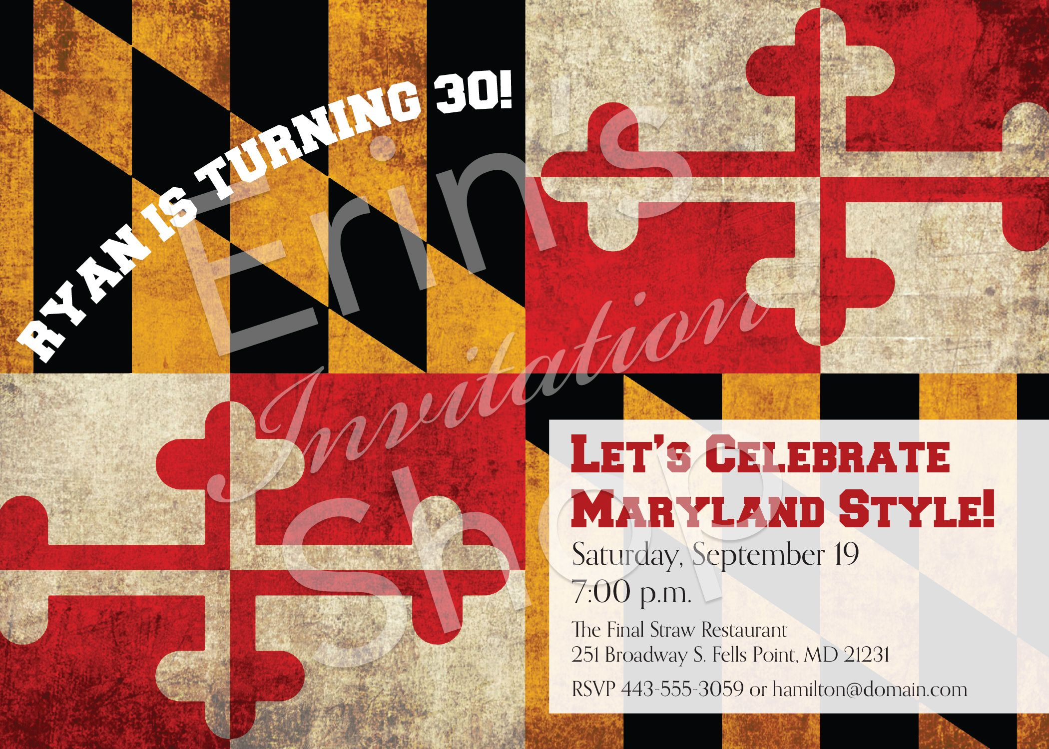 This Birthday Party Invitation Features The Maryland Flag No Matter The Age This Fun Invitation Has Fun Invitations Birthday Party Invitations Lets Celebrate