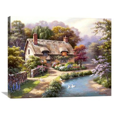 """Global Gallery 'Duck Path Cottage' by Sung Kim Painting Print on Wrapped Canvas Size: 28"""" H x 35"""" W x 1.5"""" D"""