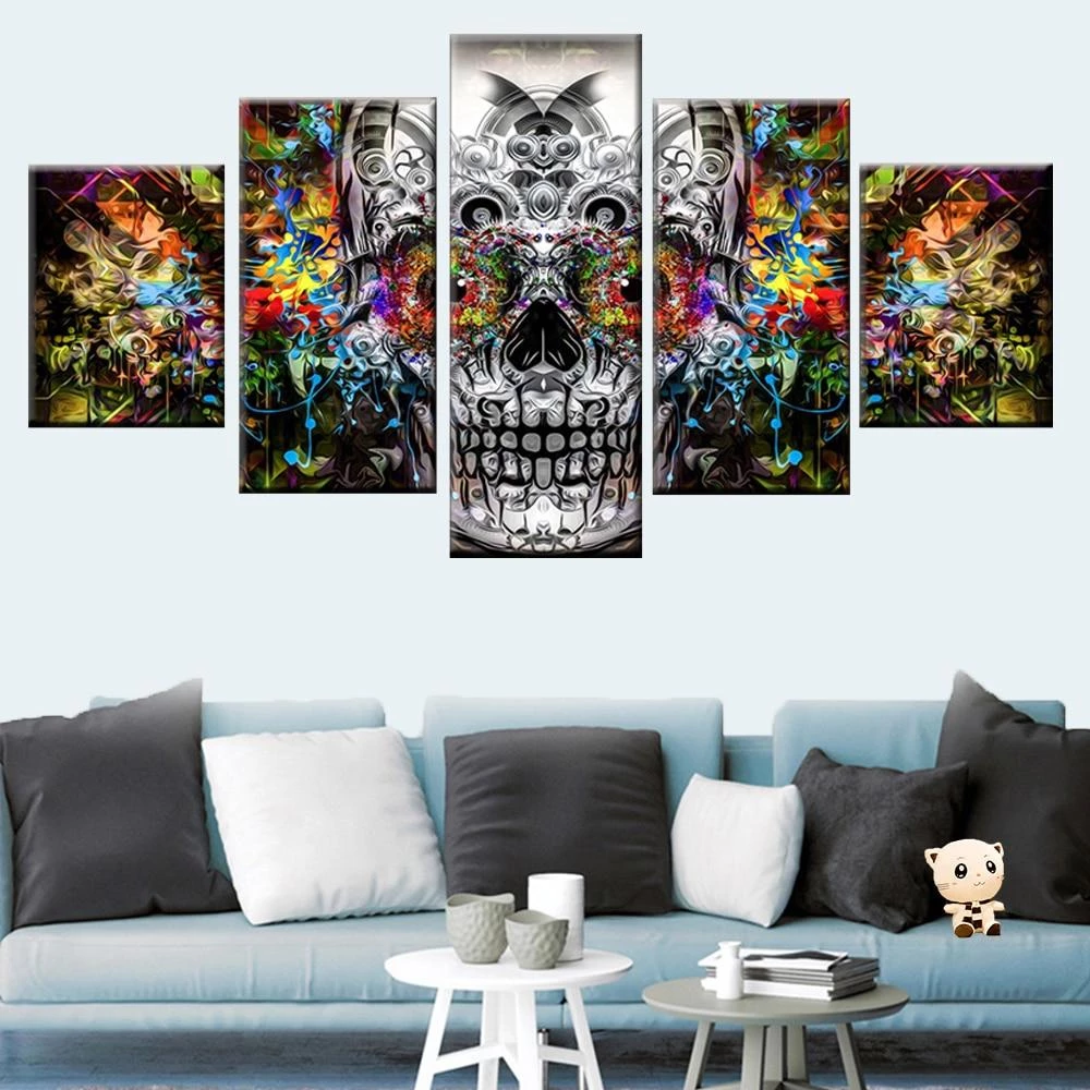 5 Pcs Abstract Colorful Art Skull Wall Art Skull Wall Art Colorful Skull Art Colorful Art