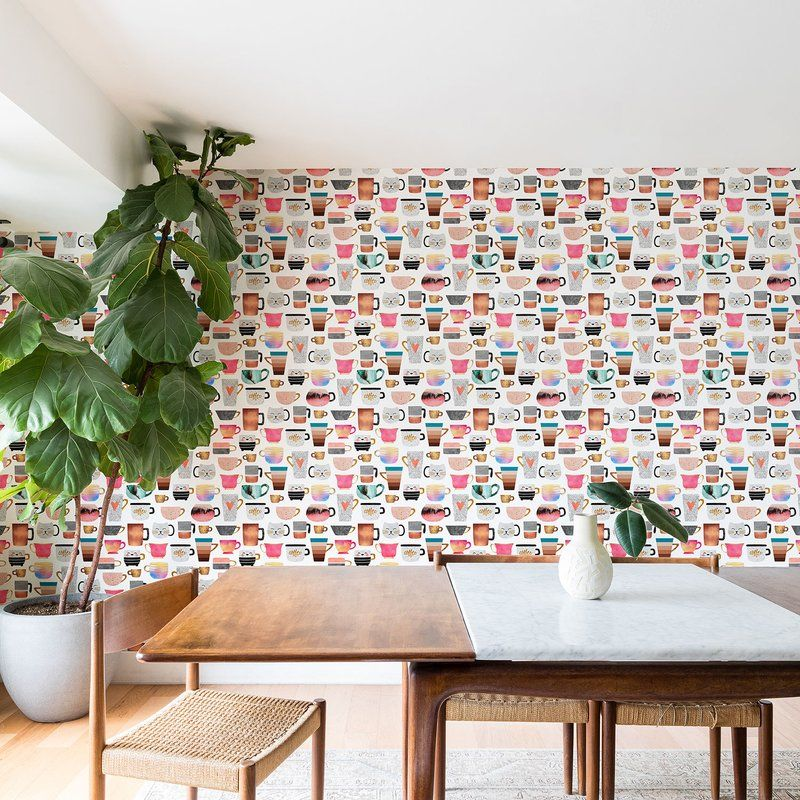 Elisabeth Fredriksson Coffee Cup Collection Matte Peel And Stick Wallpaper Panel Peel And Stick Wallpaper Wallpaper Panels Wallpaper Roll