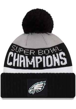 ... store new era philadelphia eagles mens black 2018 sb lii champion  parade cuff knit hat 15ee5 4d79b174d