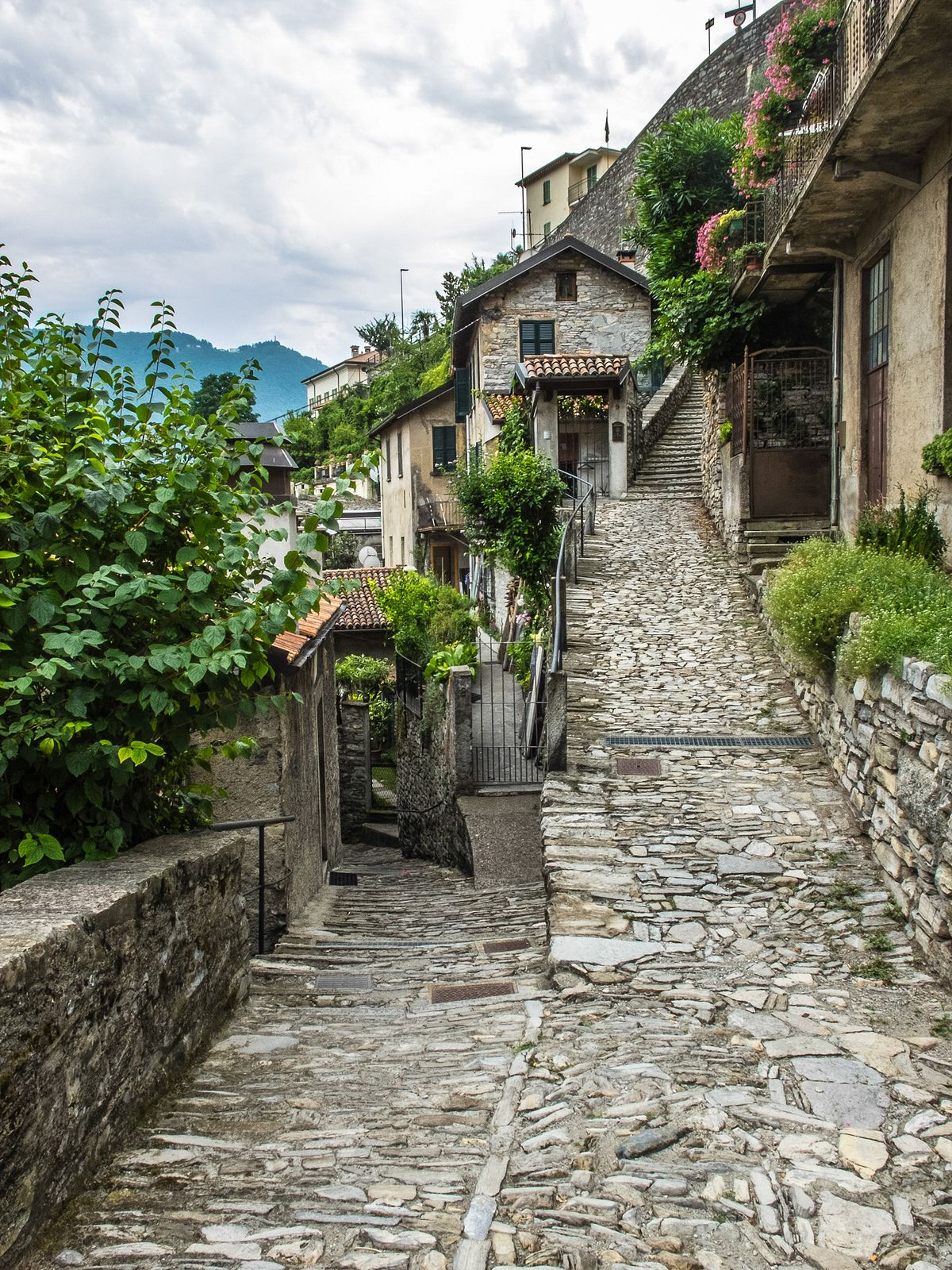 cobbled pathways in Moltrasio, Italy