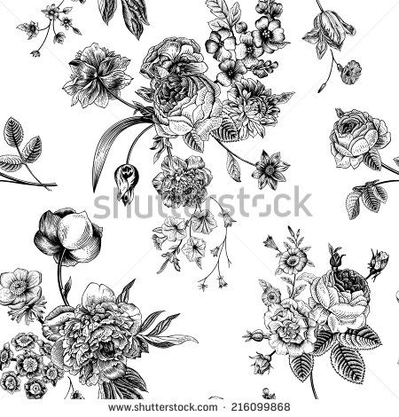 Seamless Vector Vintage Pattern With Victorian Bouquet Of Black Flowers On A White Background Garden